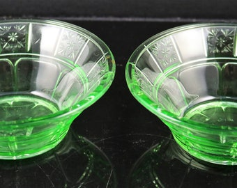 Two Jeanette Doric Green 4.5 Inch Berry Bowls