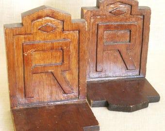Antique Folk Art Book Ends, Monogrammed, R, Book Stop, Holder, Handmade, Hand Carved, Primitive, Rustic, Library, Storage, Organization