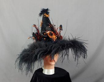 Goth Witch Hat, Black and Orange Witch Hat, Halloween Witch Hat, Pagan Hat, Witch Costume, Halloween Decoration, Black Witch Hat