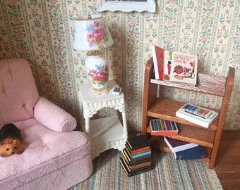 SALE Miniature Wood Bookshelf, Walnut Bookcase, Dollhouse Miniature, 1:12 Scale, Dollhouse Furniture, Mini Bookcase, Shelf, Shelves, Decor