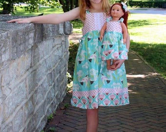 Dolly and Me hummingbird knot dress, size 1-12