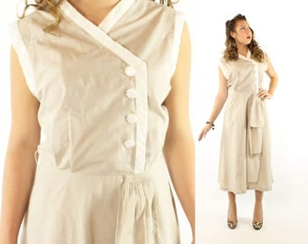 Vintage 40s Day Dress Sleeveless Flared Skirt Taupe Tan Cotton Peplum 1940s Large L Pinup Rockabilly Tommie Austin