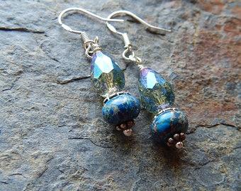 Sea sediment jasper earrings - blue stone earrings - little dangle earrings - boho blue - faceted czech glass dangles - starry nights