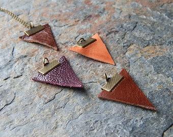 Leather pennant necklace - minimalist necklace - unisex leather pendant necklace - modern geometric necklace - leather triangle - boho arrow