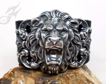 Gothic Steampunk Roaring Lion Cuff ~ Black Leather & Silver Plated Brass ~ Two Snap Adjustable Leather Cuff ~ Fits to 8 Inch Wrist #B0172