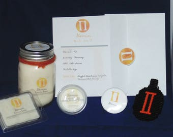 Zodiac Gift Set, GEMINI , Sign Set, 16oz Candle, Soy Waxmelts, Astrology Gift, Keychain, Button, THE TWINS