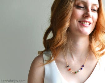 7 Chakra Necklace, Chakra Balancing Beads, Gold Yoga Jewelry in Gemstones & 14k Gold Filled