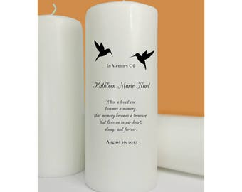 Hummingbirds Memorial Candle, Wedding Memory Candle, Funeral Memorial Candle