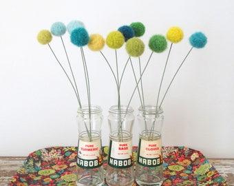 Felt Pom Pom Flowers.  Wool Pompom.  Turquoise Blue, Green Lime Flowers,  Faux, fake flowers.  Craspedia, Billy Balls.  Felt ball Bouquet.