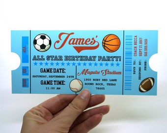 All Star Sports Ticket Birthday Invitation with Envelope : Sports Themed Party
