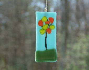 Fused glass ornament, tree of life, glass suncatcher, funky tree, gift under 20, tree ornament, office cubicle decor, suncatcher ornament