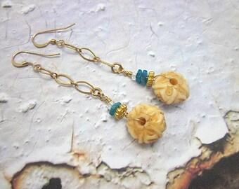 Bead & Gold Chain Earrings -- Apatite Earrings -- Bone Bead Earrings -- Carved Bone Earrings -- Bone Gold Earrings -- Apatite Gold Earrings