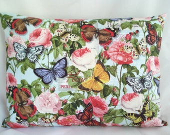 """Travel Pillowcase / 12"""" X 16""""  Pillow Cover /ROSES and BUTTERFLIES Fabric / Colorful FLORAL Pillowcase / Floral Roses Travel Pillowcase"""