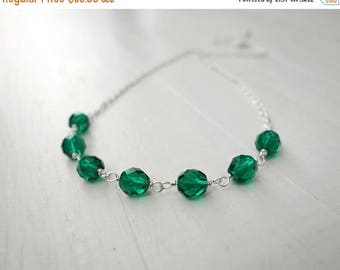 Summer Sale Green bead necklace chain necklace women's green necklace sparkly green beads