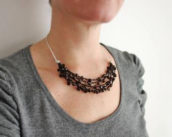 Statement bib necklace smoky quartz stones statement necklace black bib necklace for women