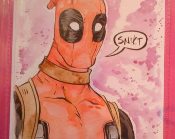 Deadpool watercolour and ink by boo rudetoons avengers Xmen comic