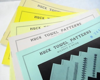 Huck Towel Patterns Book Lot Vintage Embroidery Fancy Work How To By Milred Krieg DIY (5) Each Series Set