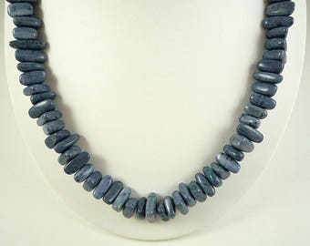 Blue Coral Necklace Natural Blue Coral Necklace Dusty Blue Coral Necklace Blue Coral Strand Short Coral Necklace Dusk Blue Coral Necklace