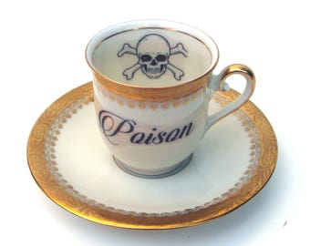 Sale - Imperfect - Poison Altered Vintage Demitasse Teacup and Saucer