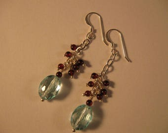 Blue Topaz Cluster Earrings,cluster earrings,drop earrings,dangle earrings,gemstone earrings,blue topaz earrings,silver earrings