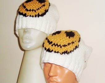 Two Valentines Day Gifts Men's Women's Matching Hats Happy Smiley Face Hat Winter Hand Knit Hats Beanies White, Gold, Black