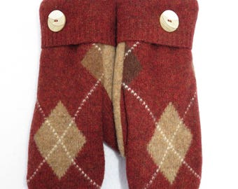 Sweater Mittens // Felted Wool Sweater Mittens // Fleece Lined // Rust/Bronze with Tan Argyle Pattern