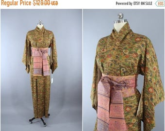 SALE - 1950s Vintage Silk Kimono Robe / 50s Wedding Dressing Gown Lingerie / Art Deco Loungewear / Green & Brown Floral Print 9002122