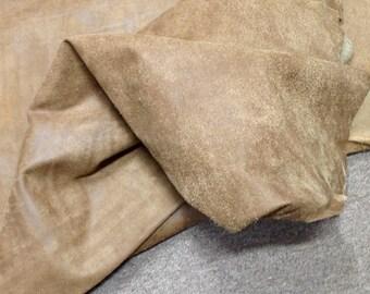 BR352.  Paper bag Brown Distressed Leather Cowhide