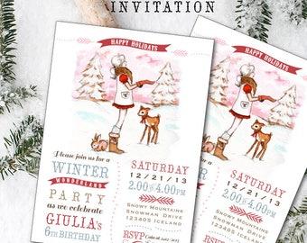 Winter Wonderland party invitation - Holiday Invitation - Printable digital file