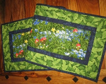 "Wildflower Quilted Table Runner, Blue Red Yellow Flowers, 14 x 47"", Reversible, 100% cotton fabrics Free Shipping"