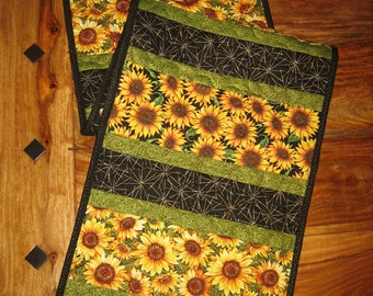 """Quilted Table Runner, Sunflowers Summer Fall, 13.5 x 48"""" Summer Reversible by TahoeQuilts Handmade Free Shipping"""