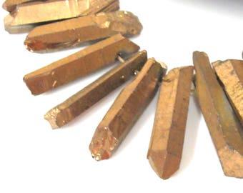 10 BEADS - Quartz gemstone Gold color electroplated quartz point beads sticks - GM434