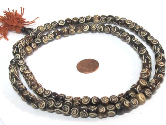 108 beads mala supplies Tibetan carved concentric circles dotted brown  color  bone beads 8 mm size - ML106A
