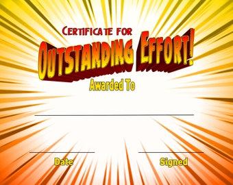 Four - Fun Instant Printable Certificate JPEG Digital Download