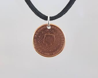 Small Netherlands Coin Necklace, 1 Cent, Coin Pendant, Mens Necklace, Womens Necklace, Leather Cord, Birth Year, 2000