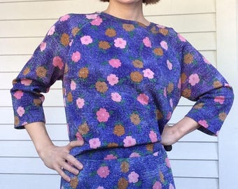 Purple Floral Top and Skirt Goldworm Spring Summer Blouse M