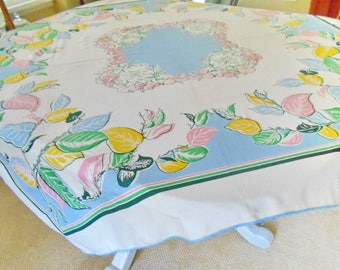 Vintage Tablecloth Bright Summery Floral on Creamy Ground