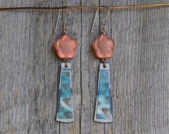 FLOWER POWER / Wood Earrings / Women's Jewelry / Gifts For Her / Sustainable / Earrings / Acrylic Painting / Art / Art Jewelry