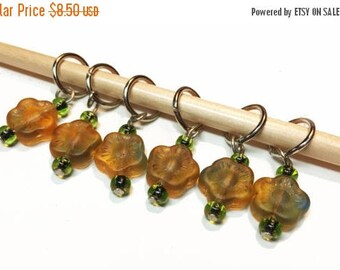 ON SALE 50% OFF Beaded Stitch Markers - Orange and Green Flower Stitch Markers - Knitting Stitch Markers - Knitting Supply - R1 - Set of 6