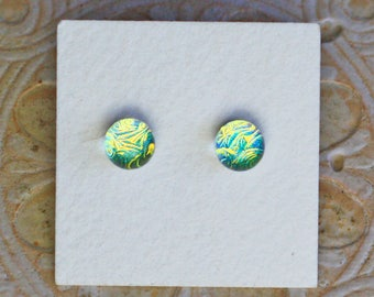 Dichroic Glass Earrings , Golden Green  DGE-1237