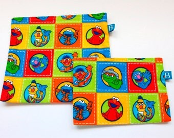 Reuseable Eco-Friendly Set of Snack and Sandwich Bags in Sesame Street Fabric