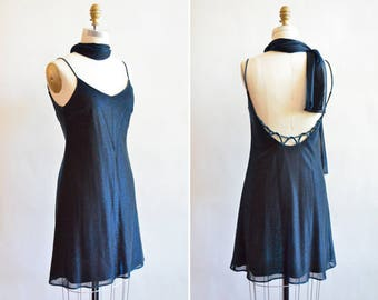 Vintage 1990s SPARKLY blue acetate mini dress