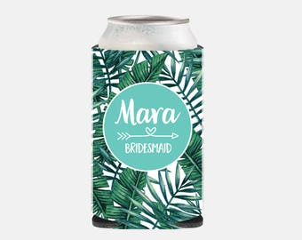 Bachelorette Party Gifts Can Cooler Turquoise Bridesmaid Gift Ideas Bridesmaid Favors Aqua Can Hugger Tropical Leaf Wedding Favors YZ