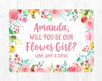 Flower Girl Puzzle Will You Be Our Flower Girl Puzzle Flower Girl Card Ask Flower Girl Will You Be My Flower Girl Gift Proposal Pink