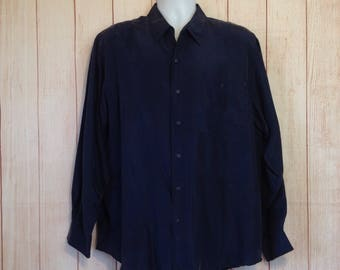 Vintage 90s Navy Blue SIlk Button Front Long Sleeve Shirt by Silk Impact Mens L