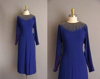 vintage 40s dress. Gorgeous 1940s blue rayon crepe decadent beaded dress