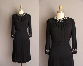 1940s black rayon crepe New York Creations studded dress. vintage 40s dress