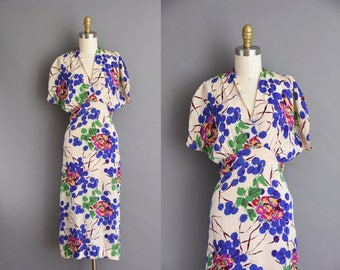 Gorgeous vintage 1940s silk floral dress. vintage 40s dress