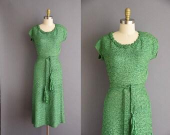 50s rare green ribbon vintage wiggle dress. 1950s vintage dress