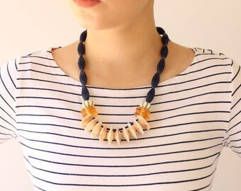 Blue Statement Necklace, Unique necklace for women, Fashion trendy jewelry by naama brosh, Blue Yellow Cream Bold beaded necklace